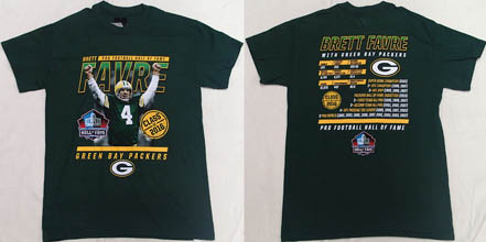NFL Pro Football Hall of Fame Green Bay Packers Brett Favre ( ブレッド・ファーブ )Tシャツ